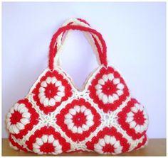 Pink White Spring Crochet bag  Summer Bag Afghan by modelknitting, $42.00