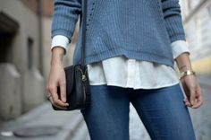 Everyday OOTD - blue jeans, white Adidas sneaks, white shirt and blue sweater. Easy peasy, classy, effortless. Danish Fashion Blogger --> Click through to see more images! Style diary, outfit of the day.