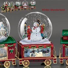 Wonderland Express Snowglobe Train Set #4 Thomas Kinkade Winter Wonderland • CAD…