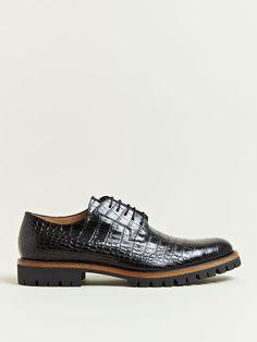 Dries Van Noten Men's Patterned Leather Oxford Shoes