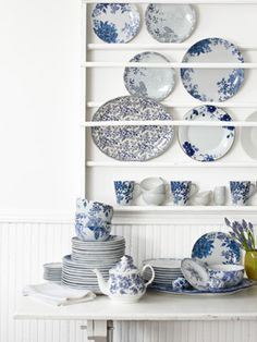 cobalt ceramics (1. Paula Deen porcelain dinnerware, $79.95 for a 16-piece set; cooking.com. 2. Royal Limoges porcelain plates, from $45; Manor Home & Gifts, 215-732-1030. 3. Johnson Brothers earthenware platter, $84; kohls.com. 4. Charter Club porcelain plate, $22; macys.com. 5. Roy Kirkham bone chi...