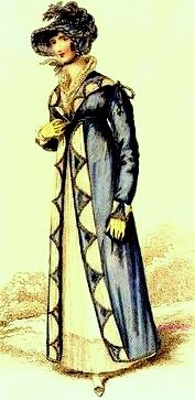 1815  September.               Walking Dress. Blue long sleeved overdress with front decoration and shawl collar opening over under dress and with matching hat. Fashion Plate via La Belle Assemblee.  suzilove.com