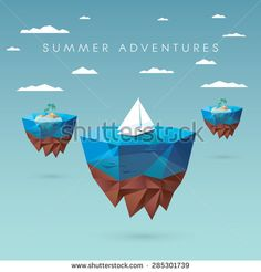 Summer holiday concept design. Low polygonal style with floating islands, yachts, palm trees. Tropical paradise advertisement. Eps10 vector illustration.