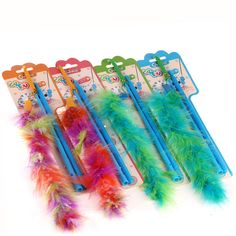 Chiwava 4PCS Cat Teaser Wand with Colorful Feather Fun Dangler Kitten Interactive Play Assorted Color >>> Learn more by visiting the image link. (This is an affiliate link and I receive a commission for the sales)