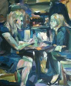 Original Painting, collected artist Samuel Burton Woman taking lunch, art