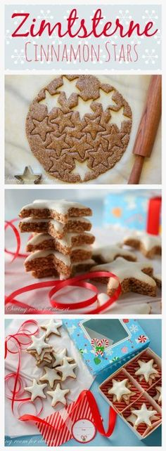 Zimtsterne Cinnamon Stars ~ traditional German Christmas Cookie with a delicious blend of ground almonds and cinnamon topped with a sweet meringue glaze. #savingroomfordessert #zimtsterne #cinnamonstars #holidaycookies #christmascookie #cookie