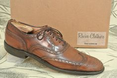 Vintage  E.T. Wright Cordwainer Brown Short Wing Full Brogue Balmoral Oxford 10 AA on Etsy, $34.00