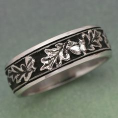 OAK LEAVES Wedding Band - made in white , rose or yellow gold. For men or women, Acorn Ring Leaf Wedding Band, Matching Wedding Bands, Wedding Rings, Leaf Engagement Ring, Anniversary Bands, Engraved Rings, Gems And Minerals, Vintage Rings, Custom Jewelry