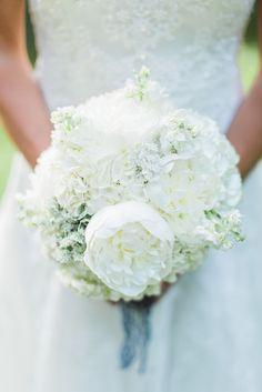 Romantic White Peony and Hydrangea Bridal Bouquet   Photo: Mon Petit Studio   Bouquet: Private Weddings & Events  