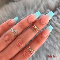 11 Ombré Nude to blue nail art designs - nails - Hair and Beauty eye makeup Ideas To Try - Nail Art Design Ideas Ombre Nail Designs, Colorful Nail Designs, Acrylic Nail Designs, Turquoise Nail Designs, Acrylic Art, Coffin Nails Ombre, Glitter Gel Nails, Coffen Nails, Gradient Nails