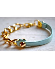 Gold and blue leather stacking bracelet