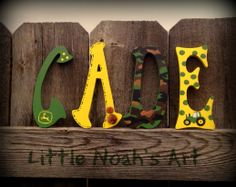 John Deere , baby boy's room , nursery decor, green , yellow , camo , wood letters
