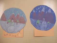 That Little Art Teacher: 1st Grade. Snow Globes for winter! This project helped students learn about space using foreground, middle ground, background.