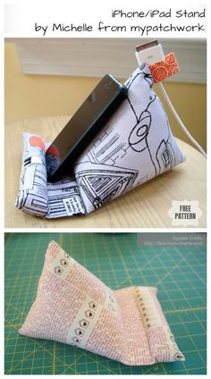 Diy ipad stand free sewing patterns + video sew/no-sew рукоделие. Diy Sewing Projects, Sewing Projects For Beginners, Sewing Hacks, Sewing Tutorials, Sewing Tips, Sewing Patterns Free, Free Sewing, Support Ipad, Diy Ipad Stand