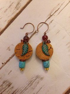 Hey, I found this really awesome Etsy listing at https://www.etsy.com/listing/198863844/turquoise-wine-cork-earrings