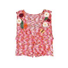 Pink Crochet Vest, Hand Crocheted Orange Sweater, M Womens Medium, Butterfly Top