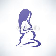 Vector: pregnant woman silhouette, isolated vector symbol