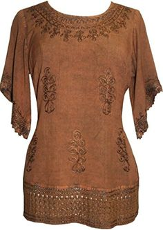 143 B Medieval Rennaissance Peasant Gypsy Ari Lace Blouse Top Rust M *** Details can be found by clicking on the image.