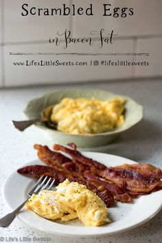 Scrambled Eggs in Bacon Fat are a satisfying, flavorful, protein-rich part of breakfast or brunch which are gluten-free, Paleo and Keto friendly. Healthy Egg Breakfast, Egg Recipes For Breakfast, Brunch Recipes, Breakfast Ideas, Other Recipes, Real Food Recipes, Easy Recipes, Cooking Recipes, Paleo Recipes