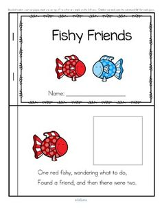 """***FREE***  Great friendship-building activity for BACK to SCHOOL. This is a multi-faceted, engaging reader about some fishy friends to make, for preschool, pre-K and Kindergarten learners. Concepts featured are color recognition, recognizing written color names, counting sets, naming the set, adding one item to a set, cutting, pasting, matching colors, rhyming, and discussion and enjoyment of the """"story""""."""