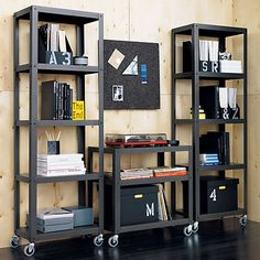 """dimensions:go-cart carbon grey three-shelf table. 30""""Wx18""""Dx30""""Hdetails:  Steel with a carbon powdercoat finishUtilitarian designFour industrial casters; two lockMade in Taiwan"""