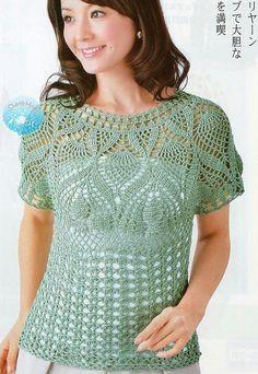 Летняя блуза с ажурной кокеткой