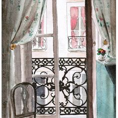 Watercolor offered by a guest figuring room 20.
