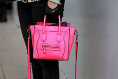 There it is the Celine Fluo Pink collection in all its glory! You'd think highlighter pink would be difficult to pull off but for this It Bag, Celine Handbags, Celine Bag, Phillip Lim, Barbie Girl, Celine Nano Luggage, Pink Luggage, I Believe In Pink, Mafia