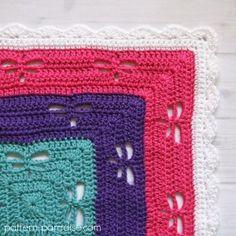 Free Crochet Pattern: Radiating Dragonflies Throw | Pattern Paradise green, orange,yellow, red, blue, Aqua, pink, purple