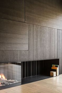 Temporary Wall Decor You'll Wish to Try at Home - Decomagz - contemporary fireplace - Interior Design Living Room, Modern Interior, Interior Architecture, Living Room Designs, Living Room Decor, Living Rooms, Fireplace Wall, Fireplace Surrounds, Fireplace Design