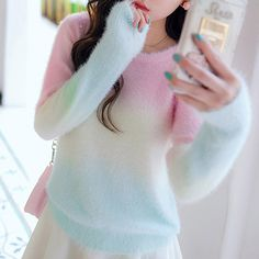 """Style:sweet kawaii,pastel sweater,sweater coat,cute japanese Color:pink,light blue  Size:one size Bust:94cm/37.00"""" Length:57cm/22.44"""" Shoulder:40cm/15.74"""" Sleeve length:60cm/23.62""""  Tips: *Please double check above size and consider your measurements before ordering,thank you ^_^  Vi..."""