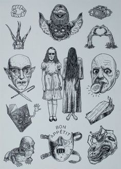 horror style flash page with nice clean lines and looks like it has just been done with a fine liner Tatoo Art, Tattoo Hals, Tattoo Outline, Bird Outline, Forearm Tattoos, Body Art Tattoos, Bird Tattoos, Crown Tattoos, Tattoo Ideas