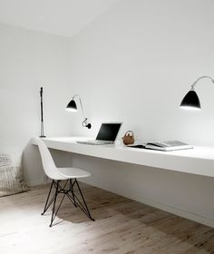 Lovely workspace, clean and white, a clean slate for ideas and creativity