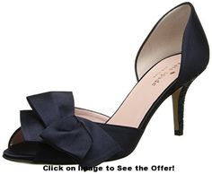 kate spade new york Women's Sala D'Orsay Pump,New Navy/Satin/Navy Glitter M US. Two-piece pump in satin with bow adorning open toe and lightly cushioned heel. Short Heels, Low Heels, Gold Glitter Heels, Thing 1, Wedding Heels, Peep Toe Pumps, Your Shoes, Black Shoes, Me Too Shoes