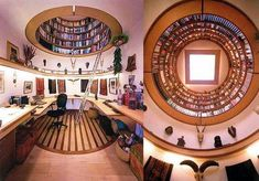 The absolute most amazing in home workspaces. Yes the circle in the ceiling is a library!