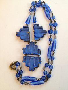 Vintage Art Deco Czech Necklace Blue Step Glass & Brass / Czechoslovakian / Antique / Jewelry
