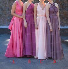 Long Bridesmaid DressHandmade Pleat Chiffon by Loveinwedding, $119.00  Great Color scheme
