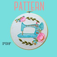 Vintage Sewing Machine Embroidery Pattern – The Kitschy Stitcher Sewing Machine Embroidery, Embroidery Hoop Art, Sewing Room Decor, Vintage Sewing, Hand Stitching, Sewing Projects, Sewing Ideas, Watercolor Pencils, Fun Art