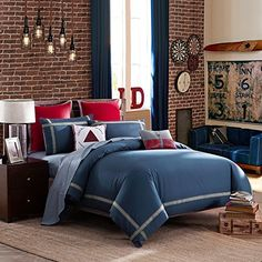 LOVO Ideal Life 100% Cotton 4-Piece Bedding Set Duvet Cover Flat Sheet 2x Shams King Navy ** More forbidden discounts at the link of image : Christmas Home Decor