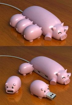 This is probably the cutest USB Hub ever! Who could resist plugging in the little starving USB piggies? Designed by WePlayGod to put some fun into the ever day boring USB's and USB hubs we see day in, day out in every home, office and work place. Gadgets And Gizmos, Geek Gadgets, Electronics Gadgets, Cool Technology, Technology Gadgets, Energy Technology, Usb Hub, Cool Inventions, Usb Drive