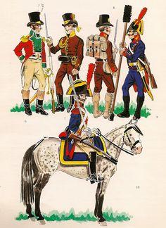 TROPAS  ESPAÑOLAS DEL  EJERCITO DE LA  IZQUIERDA - 1808 Punic Wars, Army Uniform, Military Uniforms, Napoleonic Wars, American Civil War, Military History, Painting Inspiration, Spanish, Anime