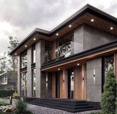 Modern Exterior House Designs, Modern House Facades, Modern Architecture House, Modern House Design, Architecture Design, Modern Contemporary House, Pavilion Architecture, Sustainable Architecture, Residential Architecture