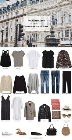 ideas for travel london outfit summer packing lists Capsule Wardrobe 2018, Travel Wardrobe, London Outfit, Summer Packing Lists, Europe Packing, Paris Packing, Travel Outfit Summer, Summer Travel, Travel Outfits