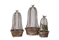 S/3 Metal Planters w/ Cloche & Bird