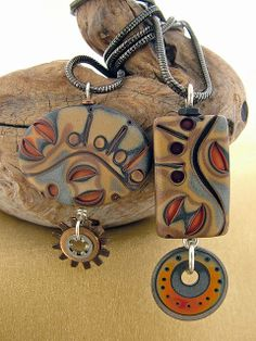 polymer clay jewelry by Julie Picarello Beautiful colours and designs