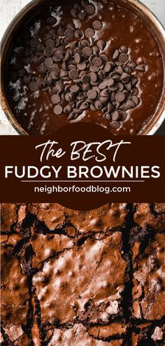Fudgy centers and a crackly top make these Homemade Chocolate Brownies absolutely irresistible! They're so easy to make and can be in your oven in 20 minutes! Chocolate Fudge Brownies, Best Brownies, Chocolate Tarts, Cheesecake Brownies, Mint Chocolate, Chocolate Chips, Best Brownie Recipe, Brownie Recipes, Delicious Desserts