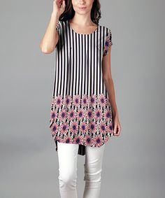 Loving this Blue & Pink Floral Stripe Pleat-Front Tunic - #Plus on #zulily! #zulilyfinds #plussize #style