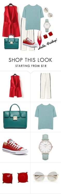"""""""Hello, Friday (aka TGIF)!  #2"""" by mary-en ❤ liked on Polyvore featuring WithChic, Lacoste, Furla, MaxMara, Converse, CLUSE, Attico and businessinsummer"""