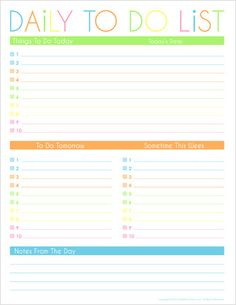 Free Daily To Do List Printable {Weekly To Do List also available}
