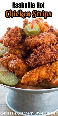 Chicken Tender Recipes, Chicken Wing Recipes, Hot Fried Chicken Recipe, Nashville Chicken, Nashville Hot Chicken Tenders Recipe, Spicy Dishes, Food Dishes, Fried Chicken Strips, Cooking Recipes